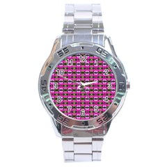 Pretty Pink Flower Pattern Stainless Steel Analogue Watch by BrightVibesDesign