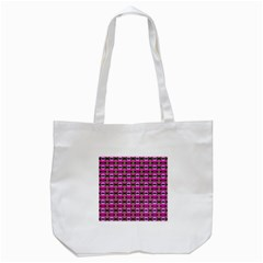 Pretty Pink Flower Pattern Tote Bag (white) by BrightVibesDesign