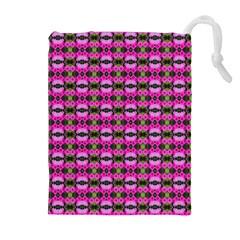 Pretty Pink Flower Pattern Drawstring Pouches (Extra Large) by BrightVibesDesign