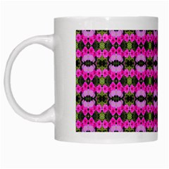 Pretty Pink Flower Pattern White Mugs by BrightVibesDesign