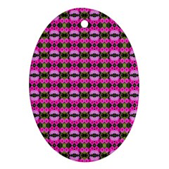 Pretty Pink Flower Pattern Oval Ornament (two Sides) by BrightVibesDesign