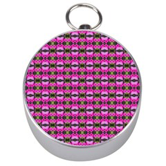 Pretty Pink Flower Pattern Silver Compasses by BrightVibesDesign
