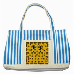 Disco Dancing In The  Tribal Nature  Striped Blue Tote Bag by pepitasart