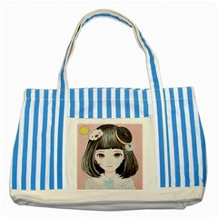 Maybe March<3 Striped Blue Tote Bag by kaoruhasegawa