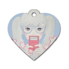 Gamegirl Girl Play With Star Dog Tag Heart (one Side) by kaoruhasegawa