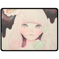 Soy sauce Uchuuw Double Sided Fleece Blanket (Large)  by kaoruhasegawa