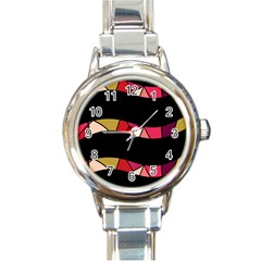 Abstract Waves Round Italian Charm Watch by Valentinaart