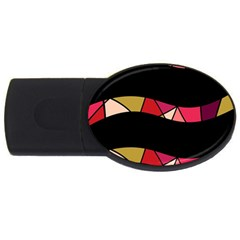 Abstract Waves Usb Flash Drive Oval (4 Gb)  by Valentinaart