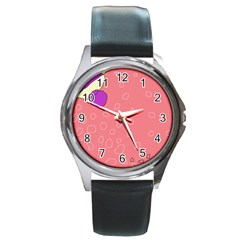 Pink Abstraction Round Metal Watch by Valentinaart
