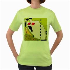 Yellow Abstraction Women s Green T Shirt by Valentinaart
