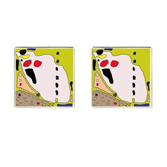 Yellow Abstraction Cufflinks (square) by Valentinaart