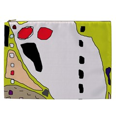Yellow Abstraction Cosmetic Bag (xxl)  by Valentinaart
