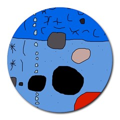 Blue Abstraction Round Mousepads by Valentinaart