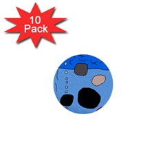 Blue Abstraction 1  Mini Buttons (10 Pack)  by Valentinaart