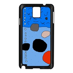 Blue Abstraction Samsung Galaxy Note 3 N9005 Case (black) by Valentinaart