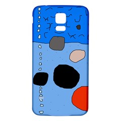 Blue Abstraction Samsung Galaxy S5 Back Case (white) by Valentinaart