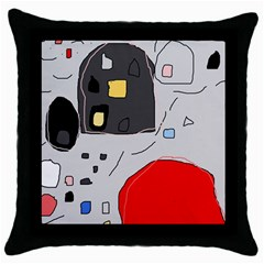 Playful Abstraction Throw Pillow Case (black) by Valentinaart