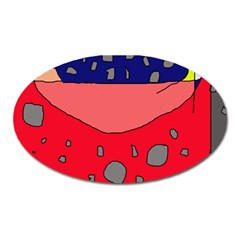 Playful Abstraction Oval Magnet by Valentinaart