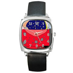 Playful Abstraction Square Metal Watch by Valentinaart