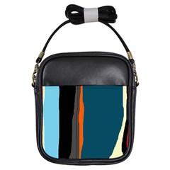 Colorful Lines  Girls Sling Bags by Valentinaart