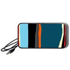 Colorful Lines  Portable Speaker (black)  by Valentinaart
