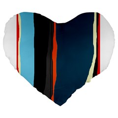 Colorful Lines  Large 19  Premium Heart Shape Cushions by Valentinaart