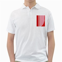Red And Pink Lines Golf Shirts by Valentinaart