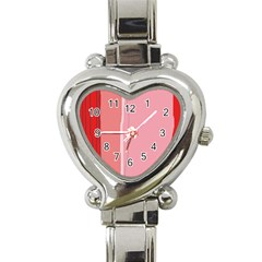 Red And Pink Lines Heart Italian Charm Watch by Valentinaart