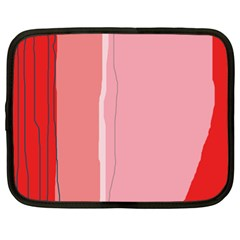Red And Pink Lines Netbook Case (xl)  by Valentinaart