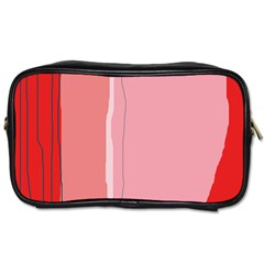 Red And Pink Lines Toiletries Bags by Valentinaart