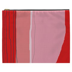 Red And Pink Lines Cosmetic Bag (xxxl)  by Valentinaart