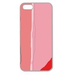 Red And Pink Lines Apple Seamless Iphone 5 Case (clear) by Valentinaart