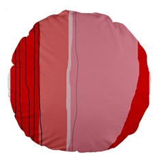 Red And Pink Lines Large 18  Premium Round Cushions by Valentinaart