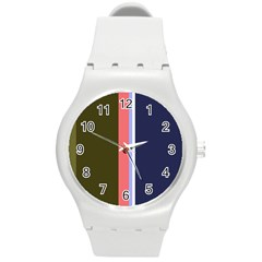 Decorative Lines Round Plastic Sport Watch (m) by Valentinaart