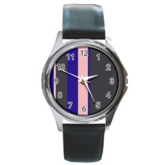 Purple, Pink And Gray Lines Round Metal Watch by Valentinaart