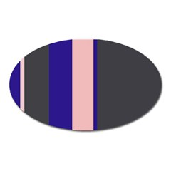 Purple, Pink And Gray Lines Oval Magnet by Valentinaart