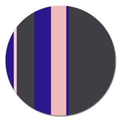 Purple, Pink And Gray Lines Magnet 5  (round) by Valentinaart