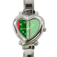 Green And Red Design Heart Italian Charm Watch by Valentinaart