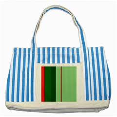 Green And Red Design Striped Blue Tote Bag by Valentinaart