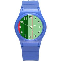 Green And Red Design Round Plastic Sport Watch (s) by Valentinaart