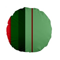 Green And Red Design Standard 15  Premium Flano Round Cushions by Valentinaart