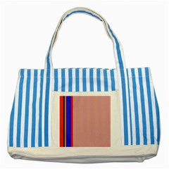 Pink Elegant Lines Striped Blue Tote Bag by Valentinaart