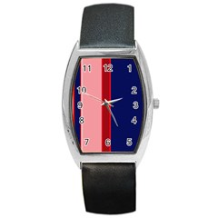 Pink And Blue Lines Barrel Style Metal Watch by Valentinaart