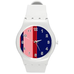 Pink And Blue Lines Round Plastic Sport Watch (m) by Valentinaart