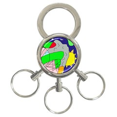 Crazy Abstraction 3 Ring Key Chains by Valentinaart
