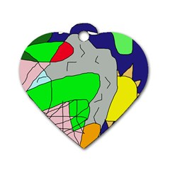 Crazy Abstraction Dog Tag Heart (one Side) by Valentinaart