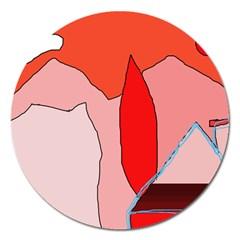 Red Landscape Magnet 5  (round) by Valentinaart