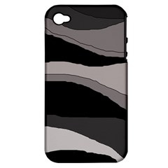 Black And Gray Design Apple Iphone 4/4s Hardshell Case (pc+silicone) by Valentinaart