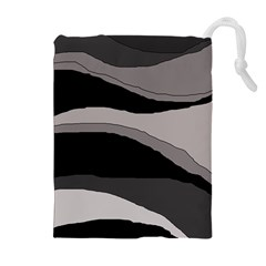 Black And Gray Design Drawstring Pouches (extra Large) by Valentinaart