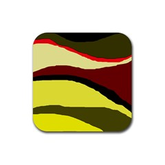 Decorative Abstract Design Rubber Square Coaster (4 Pack)  by Valentinaart